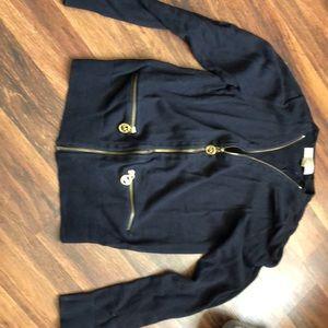 Dark blue micheal kors zip up cardigan